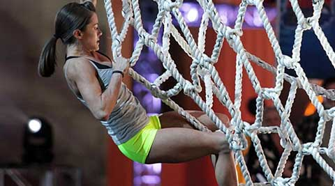 "Gymnast Kacy Catanzaro, the first woman to reach the finals of the ""American Ninja Warrior"" fitness TV competition show."