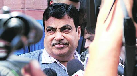 Nitin Gadkari outside Parliament on Wednesday. Source: Prem Nath Pandey