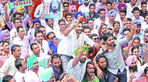 Supporters of NSUI at Panjab University  on Wednesday. (Source: IE photo by Sumit Malhotra)