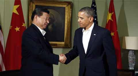 US President Barack Obama shakes hands with Chinese President Xi Jinping at The Annenberg Retreat at Sunnylands in Rancho Mirage, California. (source: Reuters)