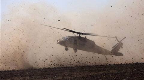An Israeli helicopter lands to take a wounded soldier near the Israel and Gaza border Thursday, July 24, 2014. Israeli tanks and warplanes bombarded the Gaza Strip on Thursday. (Source: AP)