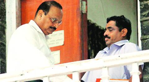 Sunil Paraskar (left) at crime branch headquarters Source: Ganesh Shirsekar