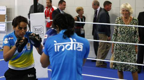 Camilla, Duchess of Cornwall, watches women boxing coach Hemlata (left) train with Pinki Jangra, during a visit to the Commonwealth Arena and Velodrome in Glasgow on Wednesday (Source: Reuters)