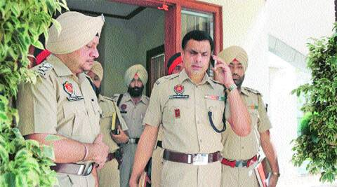 ADCP Satvir Singh Atwal (center) with officers at Aman Park, Ludhiana, on Wednesday. (Source: EXpress photo by Gurmeet Singh)
