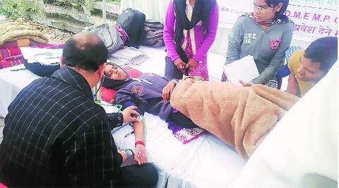 Poonam Sharma falls ill during a hunger strike in Indore in 2013. On the waiting list in the medical entrance, she cleared the all-India test later but by then had crossed the age limit.File