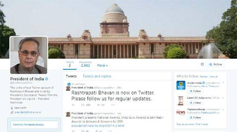 Twitter handle @RashtrapatiBhvn  was launched on Tuesday with a cover picture of the Rashtrapati Bhawan and profile picture of President Pranab Mukherjee.
