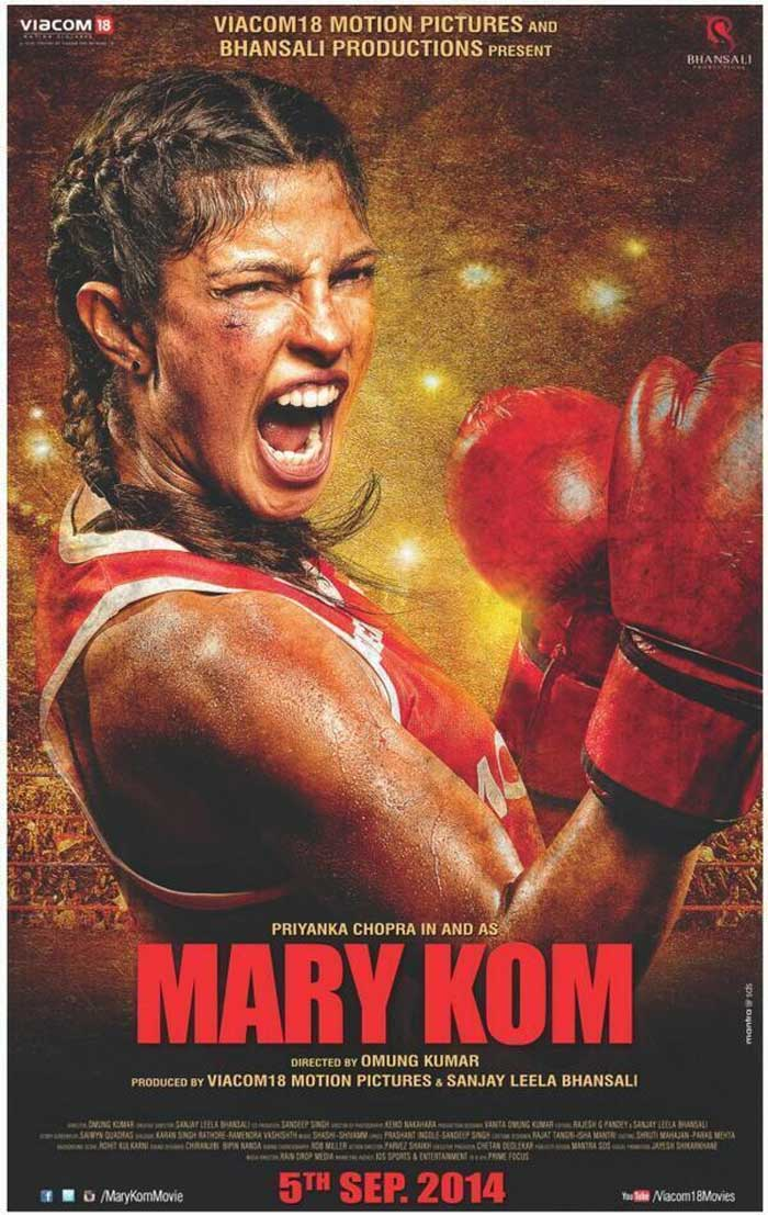 She is seen in an aggressive and fighting mood in the poster. The film, directed by Omung Kumar and produced by Sanjay Leela Bhansali and Viacom 18 Motion Pictures, also stars Minakkshi Kalitaa, Shishir Sharma and Zachary Coffin.<br /><br /> Mary Kom is said to have shared boxing tips with the 31-year-old actress. 'Mary Kom' is going to release on September 5 this year.