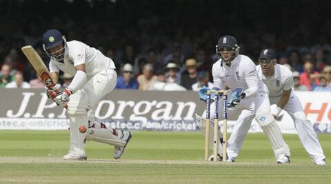 Pujara scored 43 runs off 83 deliveries before being dismissed by England's Liam Plunkett. (Source: AP)
