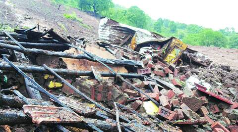 A house that was damaged in the landslide. (Source: Express Photo)