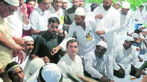 Rahul Gandhi at an iftar in Amethi Friday.  (Source:PTI)