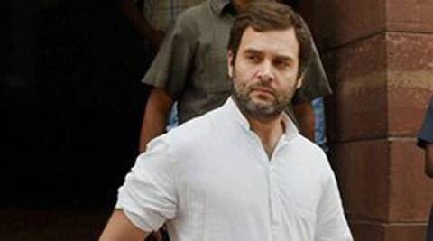 Congress Vice President Rahul Gandhi at Parliament in New Delhi on Monday. (Source: PTI)