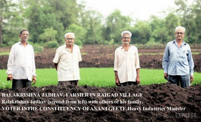30 members: Size of Balkrishna Jadhav's family in Dharanachi wadi village in Raigad district. <br /> Balkrishna Jadhav and his family totter along to every single protest march against the $90 billion, 1,483 km, proposed Delhi Mumbai Industrial Corridor. At stake is his 100-acre farmland. About 27,000 hectares will be acquired from 78 villages in Raigad to create Dighi Port Industrial Area. (Reporting by Shalini Nair, Express photo by Prashant Nadkar)