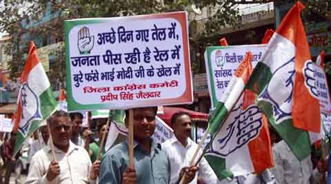 Congress party activists holding a protest march demanding withdrawal of recent hike in railway fares. (Source: AP)
