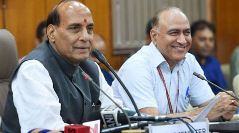 Union Home Minister Rajnath Singh with Home Secretary Anil Goswami at a press conference at North Block in New Delhi on Thursday. (Source: PTI)