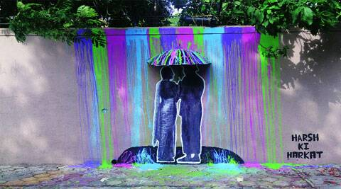 Delhi-based street artist Harsh Raman's installation in Mumbai is a tribute to the monsoon and comes with a Bollywood twist.