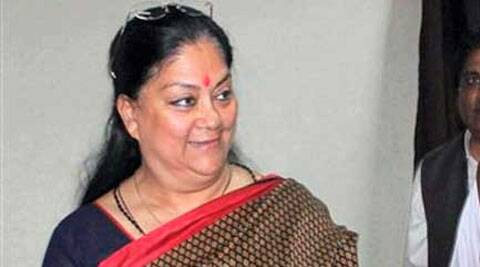 At a meeting with state MPs at Bikaner House in Delhi, Raje made her unhappiness at Rajasthan not getting a Cabinet-rank representation in the Modi government very  evident. (Source: PTI)
