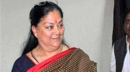 Raje also visited the Gangaur Phalan village in Kharpina in Udaipur district, where she inspected the Somkagdara dam. (Source: PTI)