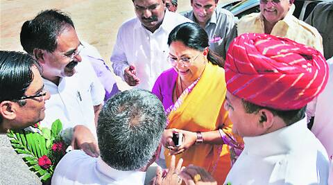 Rajasthan CM Vasundhara Raje arrives at the Assembly in Jaipur on Friday. Source: PTI