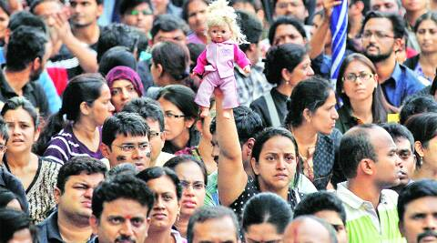 Parents protest against alleged police inaction in Bangalore on Saturday.Source: AP