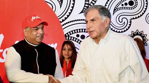 Ratan Tata (R) and Air Asia Group CEO Tony Fenandes during a press conference to celebrate the launch of Air Asia India in Bengaluru on Thursday. (PTI)