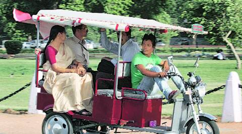 The government told court that the operation of e-rickshaws 'as per the law, as it stands today, is illegal'. (Source: IE Archive)