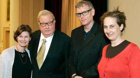In this April 27, 2007 photo provided by the Academy of Motion Picture Arts and Sciences, Anne and Robert Drew, left, join Ed Carter and Grace Guggenheim, right, during an event honoring him at the National Archives in Washington, D.C.  (Source: AP)