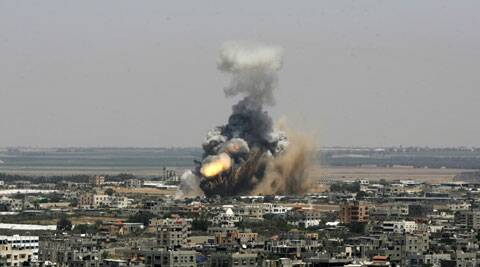 An Israeli missile explodes on impact in Rafah, southern Gaza Strip, on Tuesday, July 8, 2014. (Source: AP)