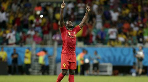 Romelu Lukaku celebrates after Belgium defeated the USA 2-1 in extra time to advance to the quarterfinals. (Source: AP)