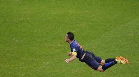 Van Persie's header made it to several social media sites, including Twitter, before FIFA ordered it to be taken down. (Source: AP)