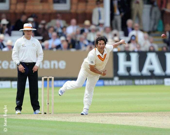 To the delight of the  capacity Lord's crowd, Tendulkar rolled his arm over and bowled his effective leggies and offies. There was no shortage of Tendulkar action as the Master Blaster was everywhere (Source: Twitter)