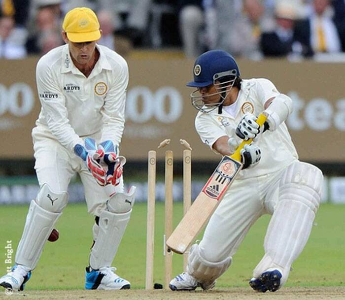 With the bat in his hand, Tendulkar was back at his magical best. The vintage straight-drive was back, backfoot drives left the spectators in awe and the master was looking good for a big knock before crafty offie Murali castled him for 44 (Source: Twitter)