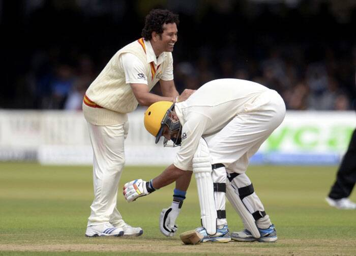 The moment of the match. however, was Yuvraj Singh, who smashed a brilliant hundred for ROW, touching Tendulkar's feet (Source: Reuters)