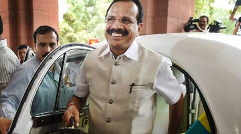 Union Railways Minister Sadananda Gowda arrives at Parliament to present the Rail Budget 2014-15 in New Delhi. (PTI)