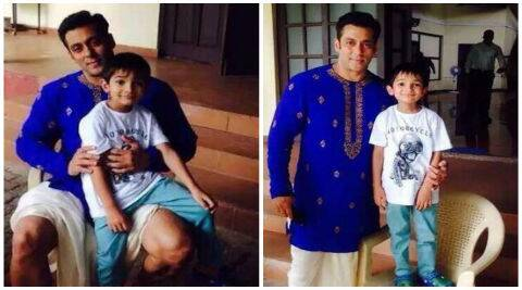 Pictures of Salman Khan dressed in a blue kurta with a white dhoti have leaked online.