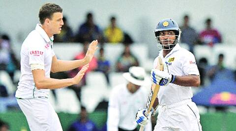 Sangakkara scored his 50th Test half-century, before Morkel snapped him. Source: AP