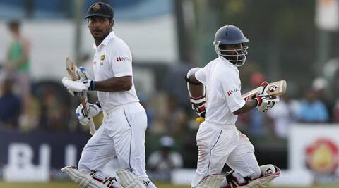 Sangakkara (L) and Kaushal Silva (R) forged an unfinished second wicket partnership of 96 runs to power the hosts to a strong 110 for one by the close of the fourth day's play. (Source: AP)