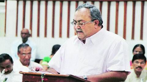 Finance Minister Saurabh Patel presents the annual budget in the Assembly in Gandhinagar on Tuesday. (Source: Express photo)