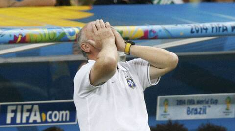 Brazil's coach Luiz Felipe Scolari reacts during the play-off match against the Netherlands in Brasilia on Saturday. (Source: Reuters)