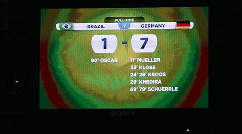 A general view of the scoreboard shows the results at the end of the 2014 World Cup semi-final between Brazil and Germany (Source: Reuters)
