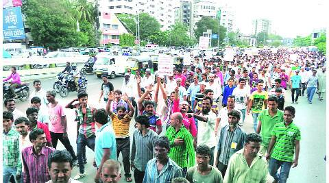 A large number of villagers from Palsana taluka took to the streets in the city on Thursday.