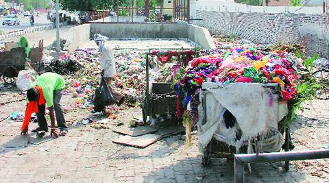 Garbage along Ferozepur Road. ( Express photo by:  Gurmeet Singh )
