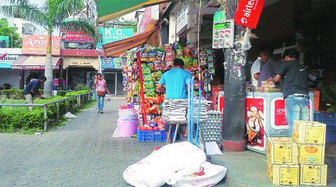 Encroachments at the Sector 49 market in Chandigarh. (Photo by Nidhi Bharti)