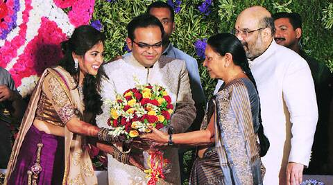 Anandi Patel attends the engagement of BJP president Amit Shah's son Jay with Rishita Patel in Ahmedabad on Sunday. (Source: Express photo)