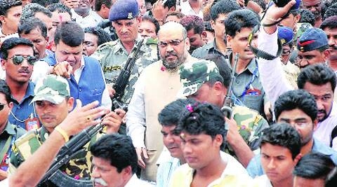 BJP president Amit Shah arrives in Nagpur on Friday.(Sudarshan Sakharkar)