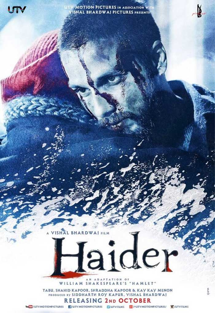 Blood-streaked and shaved head, Shahid Kapoor looks fierce in the first look of Vishal Bhardwaj's upcoming film, 'Haider'. Said to be an adaptation of Shakespeare's tragedy Hamlet, 'Haider' has been shot in Kashmir and portrays Shahid Kapoor as Haider, a man who avenges his father's death.  (Source: Twitter)