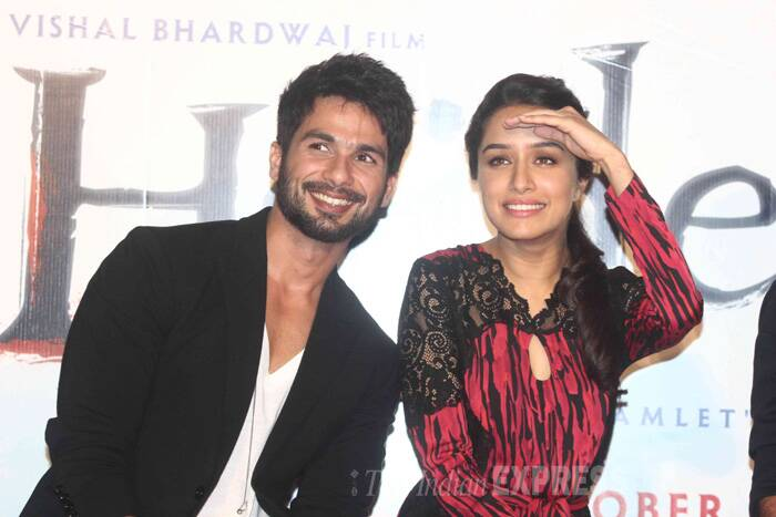 Shahid Kapoor and his beautiful onscreen love Shraddha Kapoor launched the trailer of their much-awaited film 'Haider' on Tuesday in Mumbai. (Source: Varinder Chawla)