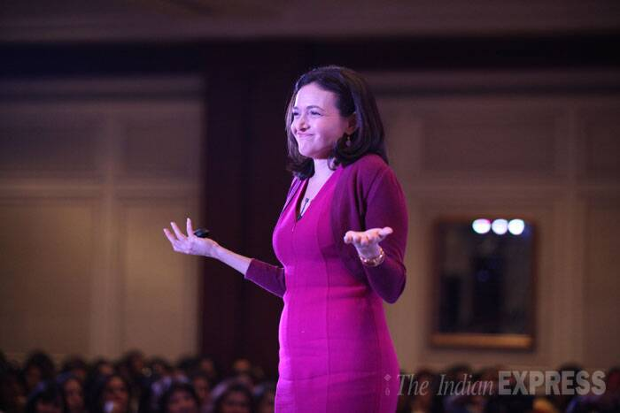 "Facebook COO Sheryl Sandberg addressing the gathering at an event organised by FICCI Ladies Organisation in New Delhi. <br /><br /> Facebook now considers India its second largest market after the US as far as users are concerned. ""In the US, we are by far the number one mobile app, bigger than the next seven combined,"" she said.  (Source: Express photo by Tashi Tobgyal)"