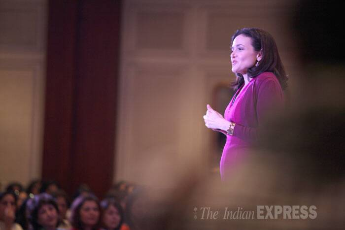 Facebook COO Sheryl Sandberg addressing the gathering at an event organised by FICCI Ladies Organisation in New Delhi. <br /><br /> Sandberg, who has worked for Google as well as the United States Secretary of the Treasury, started her career in India in 1991 as part of a World Bank project on leprosy in Madhya Pradesh. (Source: Express photo by Tashi Tobgyal)