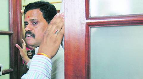 Rajan Vichare at the Shiv Sena office in Parliament Wednesday. (Source: Express Photo by Anil Sharma)