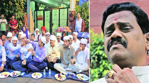 Shiv Sena MP Rajan Vichare at Parliament on Wednesday; (left) protesters break their fast outside his house in Thane on Wednesday.  Source: deepak joshi/ Prem Nath Pandey.